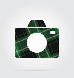 green black tartan isolated icon - camera vector image vector image