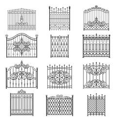 iron gate line art set vector image vector image