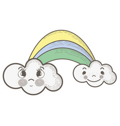 kawaii rainbow with clouds with faces expression vector image vector image