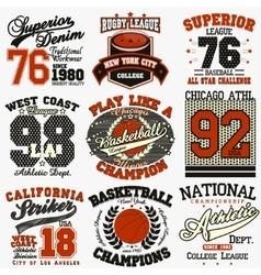 Sport t-shirt set vector image vector image
