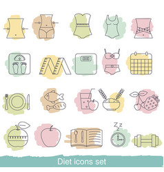diet icons set diet icons set vector image vector image