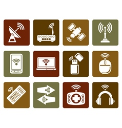 Flat Wireless and communication technology icons vector image