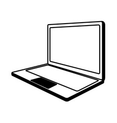 line icon laptop cartoon vector image vector image