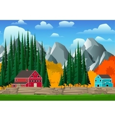 Mountain and forest landscape vector image vector image