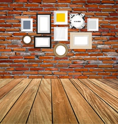 Room interior vintage with red brick wall and wood vector image