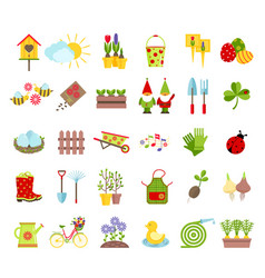 Spring and gardening tools icons set planting vector