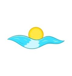 Sun and sea waves icon cartoon style vector image vector image