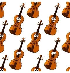 Violin cartoon character seamless pattern vector image vector image