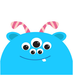 blue monster head with ears tooth and horns black vector image vector image