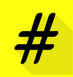 hashtag sign black icon with flat vector image vector image