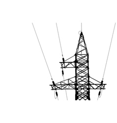 High voltage power lines and pylon vector