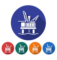 round icon of offshore oil platform flat style vector image