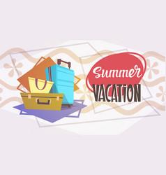 Summer vacation luggage sea travel retro banner vector