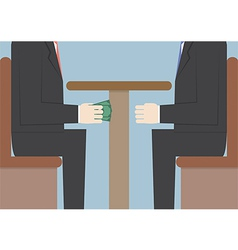 Two businessmen passing money under the table bri vector