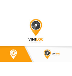 vinyl and map pointer logo combination vector image vector image