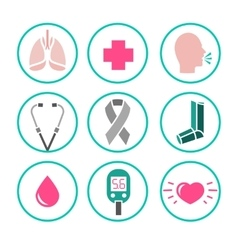 Asthma Icons vector image vector image