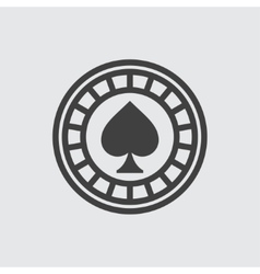 Casino chip wigh spades icon vector image vector image
