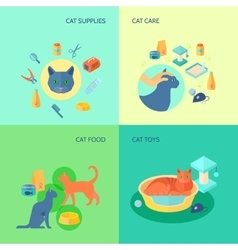 Cat 4 flat icons square composition vector image