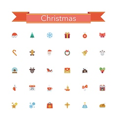 Christmas Flat Icons vector image vector image