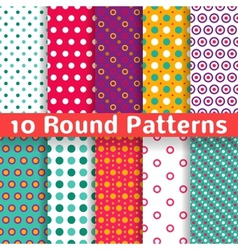 Different round shape seamless patterns tiling vector image vector image