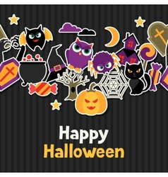 Happy halloween greeting card with flat sticker vector image vector image