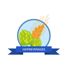 hop beverages logo golden wheat isolated vector image