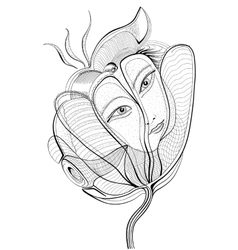 Surreal hand drawing flower with female face vector image