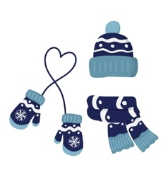 winter knitted mittens hat and scar set in blue vector image