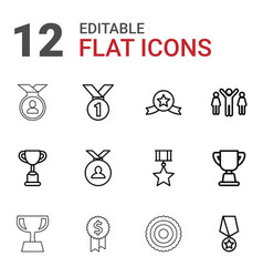 12 trophy icons vector image