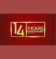 14 years anniversary logotype with golden color vector