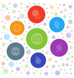 7 earth icons vector image