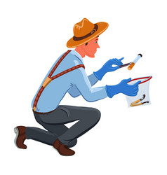 A classic detective in a brown hat collects vector