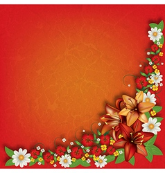 abstract red grunge floral background with spring vector image