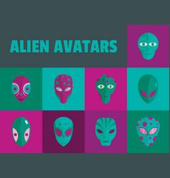 alien avatars flat style vector image