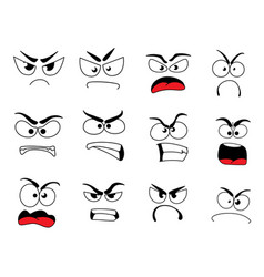 Angry human face icon of upset emoticon and emoji vector