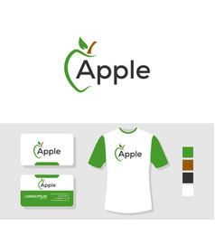Apple logo design with business card and t shirt vector