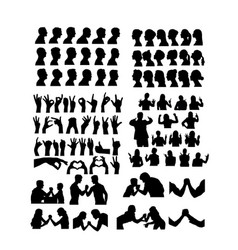 avatar and hand gesture sign silhouettes vector image