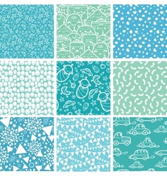 Baby boy blue seamless patterns vector