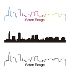 Baton Rouge skyline linear style with rainbow vector