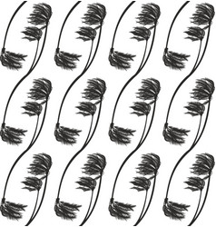 bent palms - seamless monochrome tropical pattern vector image