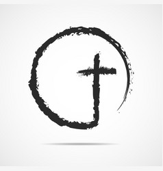 Black christian cross icon vector