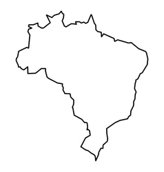 Black contour map of Brazil vector