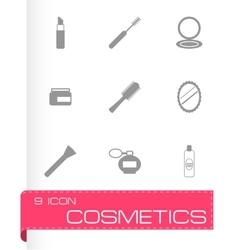 black cosmetics eyes icons set vector image