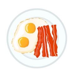 bright fried eggs with bacon breakfast icon vector image