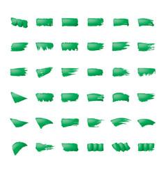 brush stroke green paint on white background vector image