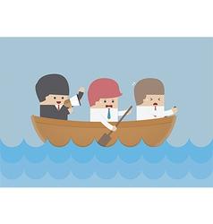 Businessman rowing team Teamwork and Leadership c vector image