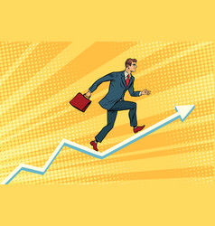businessman running on schedule growth vector image