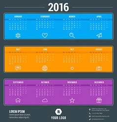 Calendar Template Calendar 2016 Week Starts Monday vector