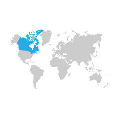 canada map is highlighted in blue on world map vector image