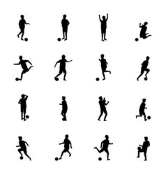 cartoon silhouette black characters soccer player vector image